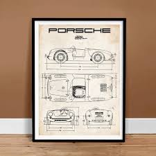 porsche poster amazon com porsche 550 spyder poster 1953 vintage racing car art