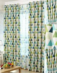 Curtains Blue Green Brief Blackout Green And Blue Geometric Curtains