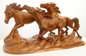 carved wooden animals wood animal carvings artwork stallions