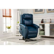 lehman navy blue traditional lift chair comfort pointe recliners