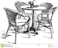 Dining Room Table Clipart Black And White Outdoor Cafe Royalty Free Stock Image Image 33342386