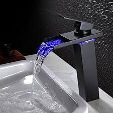 Led Bathroom Fixtures Wovier Led Water Flow Rubbed Bronze Waterfall