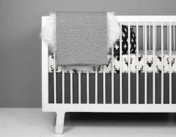 Black And White Crib Bedding Set Deer Crib Bedding Set Modern Nursery Black And White Baby