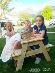 little kids picnic table diy kids picnic table plans from anna white tinsel wheat