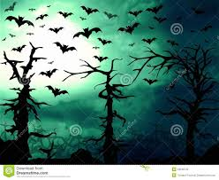 mystical halloween background dark halloween woods background with twisted trees stock