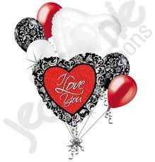 heart balloon bouquet black damask i you heart balloon bouquet jeckaroonie