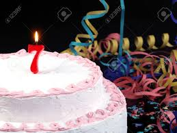 birthday cake with red candles showing no 7 stock photo picture