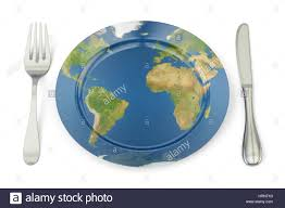 concept cuisine map on a plate with fork and knife international cuisine