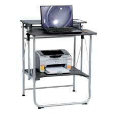 Computer And Printer Desk White Collapsible Computer Desk With Shelving For Small Home And