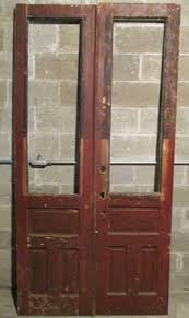 Salvaged French Doors - antique arch top door with glass top 32 x 96 architectural