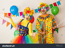 two cheerful clowns birthday children bright stock photo two cheerful clowns birthday children bright stock photo 742263532