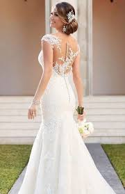 fit and flare wedding dress 39 button back wedding dresses that impress happywedd com