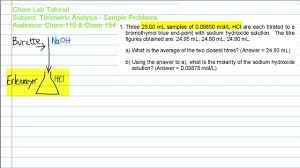 titrimetric analysis study guide problem 1b youtube