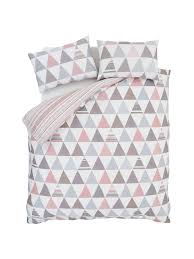 geo triangles easy care duvet cover set triangle print pastel