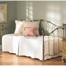 furniture brass metal daybed with trundle having white and cream