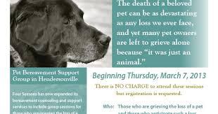 pet bereavement four seasons upcoming pet bereavement support