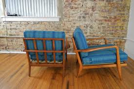 mel smilow walnut rail back lounge chairs pair vintage in maharam