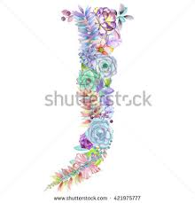 Wedding Design Capital Letter V Watercolor Flowers Isolated Stock Illustration