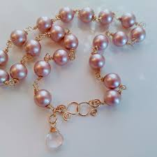 pink pearl gold necklace images Pink pearl necklace rose gold necklace handmade customizable jpg