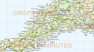 Counties In England Map south west england county road and rail map at 750k scale in