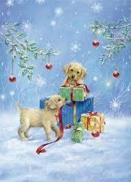 dona gelsinger bear deer fox rabbit santa wolf christmas greeting