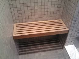 Teak Shower Mat Bathroom Rectangle Teak Shower Bench On Gray Tile Wall Matched