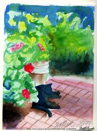 july featured artwork and desktop calendar garden sketch with