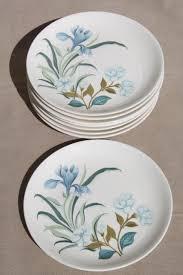 blue crocus flowers pattern vintage china plates crown