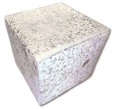 metallic cowhide ottoman footstool white with silver cowhide