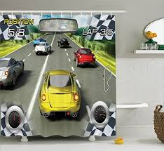 Sports Bathroom Accessories by Cars Decor Shower Curtain Set By Ambesonne Car Racing Video Game