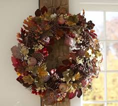 pinecone wreath harvest pomegranate pinecone wreath garland pottery barn