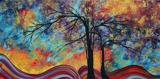 Paint Colorful - abstract landscape tree art colorful gold textured original