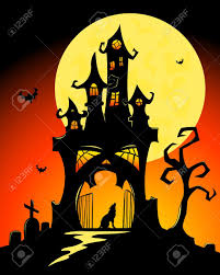 black halloween castle and moon vector cartoon illustration