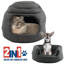 Igloo Dog House Parts Beatrice Convertible Pet Bed Dog Cat Igloo Cuddler Cave Gray