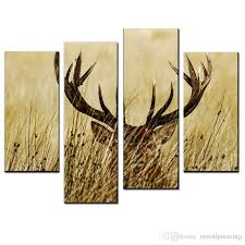Art For Bedroom 2017 Lk408 4 Panel Deer Of Animals Oil Paintings On Canvas Wall