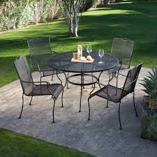 Iron Patio Table With Umbrella Hole by Outdoor Mesh Patio Table And Chairs Metal Mesh Garden Table