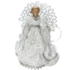 lighted tree topper northlight 13 in lighted b o fiber optic angel with white gown