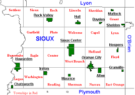map of iowa towns sioux county iowa townships and towns
