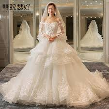 wedding dress korean usd 283 05 one word shoulder wedding dress 2018 new style korean