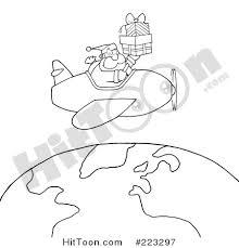 santa clipart 223297 coloring outline santa flying