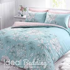 Duck Egg Blue Duvet Sets Linear Floral Duck Egg Duvet Quilt Bedding Cover And Pillowcase