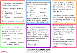Synonyms For Light Early Work Activity Verb Synonyms Classroom Secrets