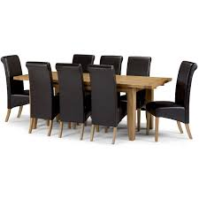 calgary solid oak extending dining table with 8 leather dining