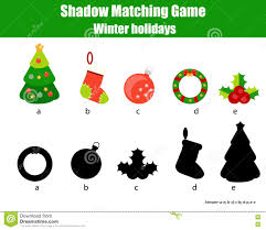 shadow matching game christmas winter holidays theme kids