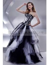 robe de mari e noir et blanc robe de mariée moderne longue bustier a ligne tulle blanc noir