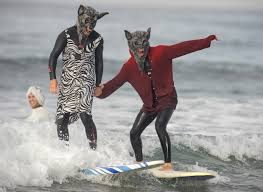 costumed surfers will be riding waves in style at wacky halloween