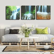 Livingroom Art 3 Cascade Large Waterfall Framed Print Painting Canvas Wall Art
