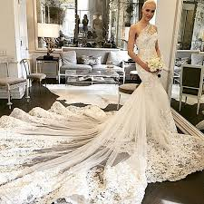custom wedding dress wdwa 100 lace tulle trumpet bridal gown one shoulder with