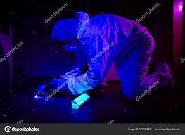 Uv Light Bathroom Criminologist Collecting Dna On Place Of Crime Uv Light In