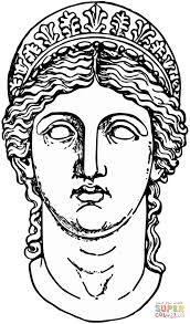 hera goddess from greek mythology coloring page free printable